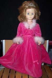 "Vintage Doll 32"" Pink Faux Velvet Feather Trimmed Dress Sleep Eye Good Condition"