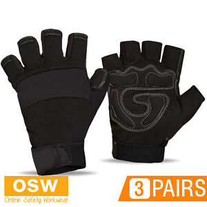 3 PAIRS X DURABLE SPANDEX FOAM SYTHENTIC LEATHER PALM ANTI VIBRATION WORK GLOVES