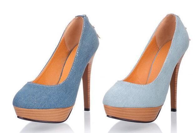 Stiletto chaussures Escarpins élégante Femme Mariée Broches Plateau 12 cm Jeans 8543