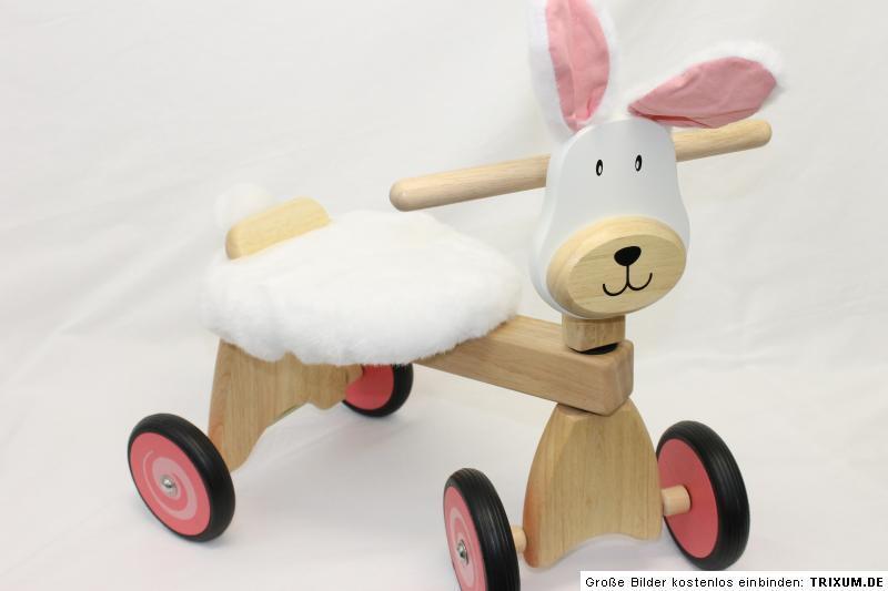 I´m Toy Holz Rutscher Hase NEU Dreirad mit abnehmbaren Plüschfell Laufrad