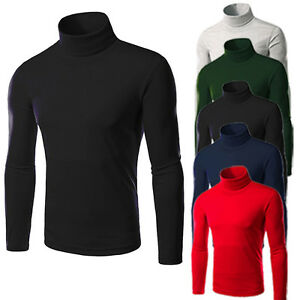Mens-Thermal-Cotton-Turtle-Neck-Skivvy-Turtleneck-Sweaters-Stretch-T-Shirts