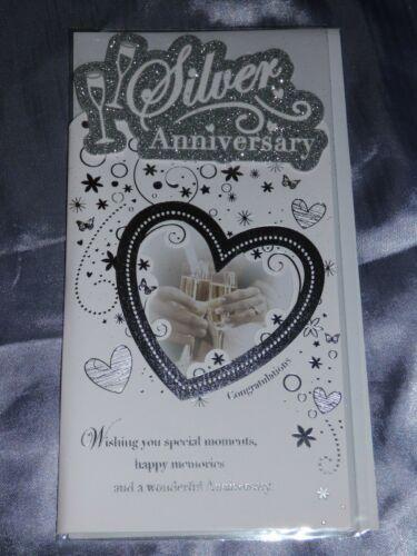 Argent Mariage Anniversaire Carte sur votre 25TH Anni 25 ans CARTE DE VŒUX