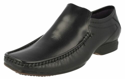 MEN/'S HOPE Noir Cuir Mocassins À Enfiler Chaussure Tailles UK 7 To Uk 11