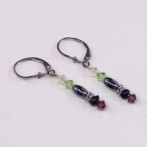 Vtg-STERLING-SILVER-earrings-with-Hematite-dangles-N-Crystal-Stamped-925