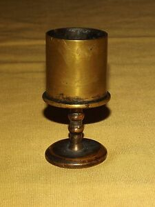 VINTAGE-3-1-4-034-WWI-WWII-TRENCH-ART-HIGH-BRASS-HOLDER