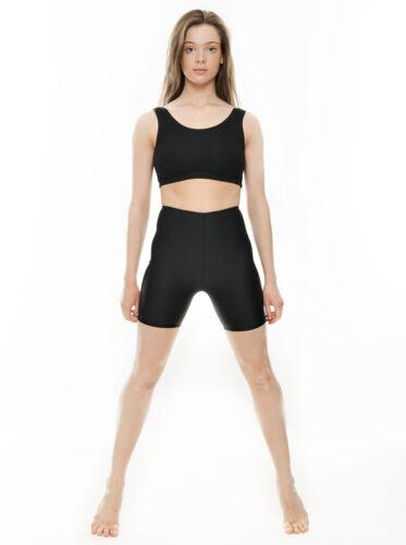 Ladies Black Shiny Lycra Dance Gym Sports Running Cycle Hot Pants Shorts KDT005