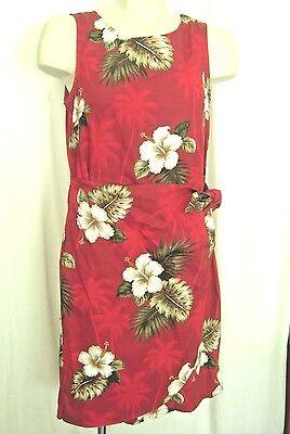 Pacific Legend Hawaiian Sarong Dress Sz M Dark Red Hibiscus USA