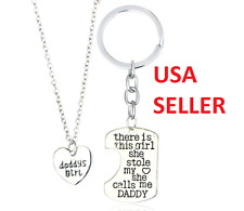 Daddy's Girl Necklace Pendant Keychain Two Piece Set Father Daughter USA SELLER