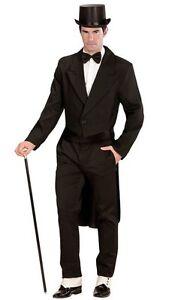 Black-Tailcoat-Circus-Ringmaster-Victorian-Frock-Men-Fancy-Dress-Costume-S-XL