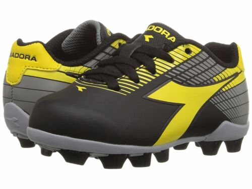 Grey Toddler Kids Youth Sizes Diadora Ladro MD JR Soccer Cleats Black Yellow