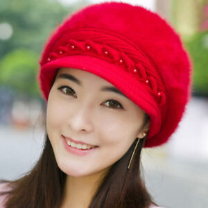 858d322507302 FX- Women Winter Fashion Solid Faux Fur Beading Beret Peaked Cap ...