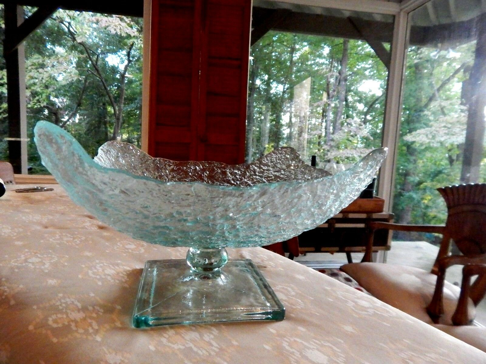Unique Clear Pebbled Pedestal Glass Bowl Large & BEAUTIFUL GREAT HOLIDAY