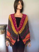 Shawl Wrap Caplet Poncho Hand Knit Designer Bohemian Fashion Floral Bead Hip Chi