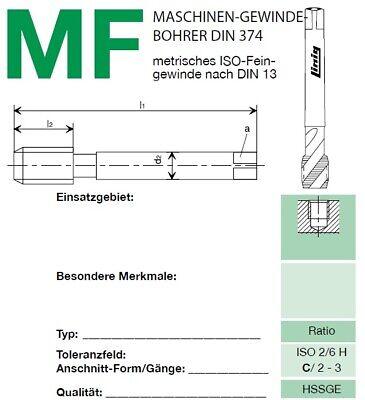 Maschinengewindebohrer M12 HSSGE DIN 376//B LINIG Top-Industrie-Qualität 80.38550