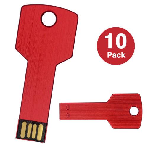 10Lot 1GB USB Flash Drive Metal Key 1G Pen Drive USB 2.0 Memory Thumb Stick Red