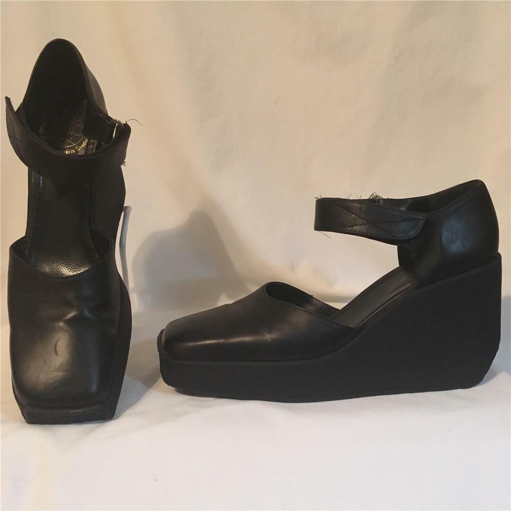 Espace Robert Clergerie Cuña con Plataforma De Cuero Negro Mary Mary Mary Jane Zapatos 9 578430