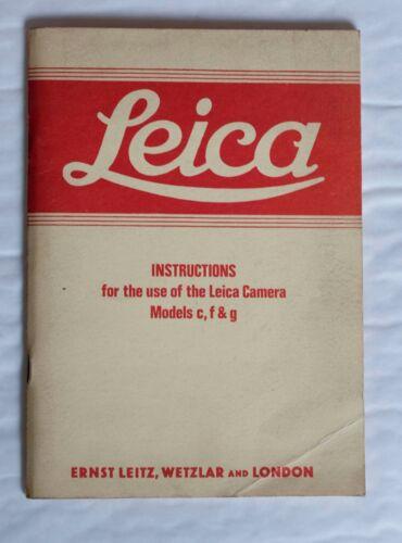 Models c f /& g Leica Instructions For Leica Cameras