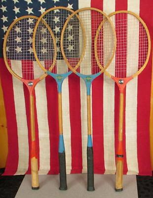 Tennis & Racquet Sports Vintage Wood Badminton Racquets Group 4 Blue Ribbon/all Pro Antique Wall Decor Relieving Heat And Sunstroke
