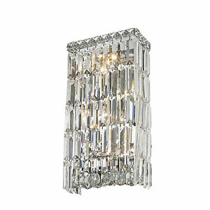 Lights Chrome Finish W X H Crystal Wall Sconce Bathroom Light - Bathroom lighting chrome finish