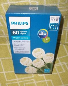 PHILIPS-60-CT-C1-LED-WARM-WHITE-FACET-SPHERE-STRING-LIGHTS-CAMP-RV-DECK-NIB