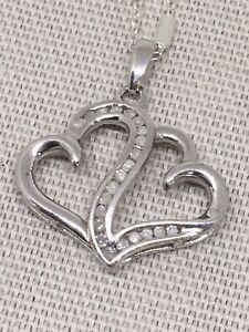 Romantic jewelry Sterling Silver double heart dangle Heart pendant FAST SHIPPING