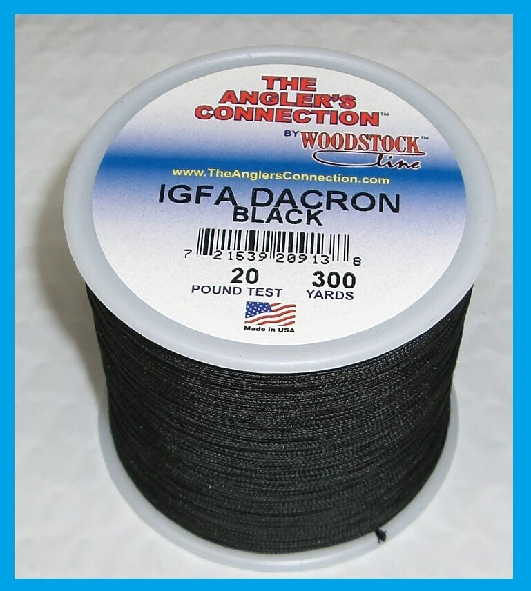 Woodstock braided dacron fishing line black color 20lb for Dacron fishing line