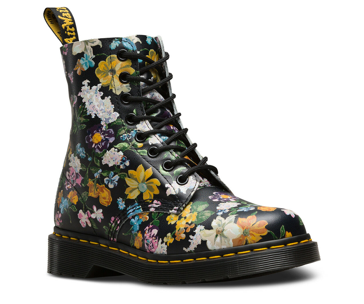 DR. MARTENS 1460 PASCAL BLACK DARCY FLORAL 8-EYE WOMENS LEATHER BOOTS 22728001
