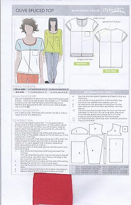 Style Arc Sewing Paper Pattern Olive Spliced Top Tee Size18 (Australian) New