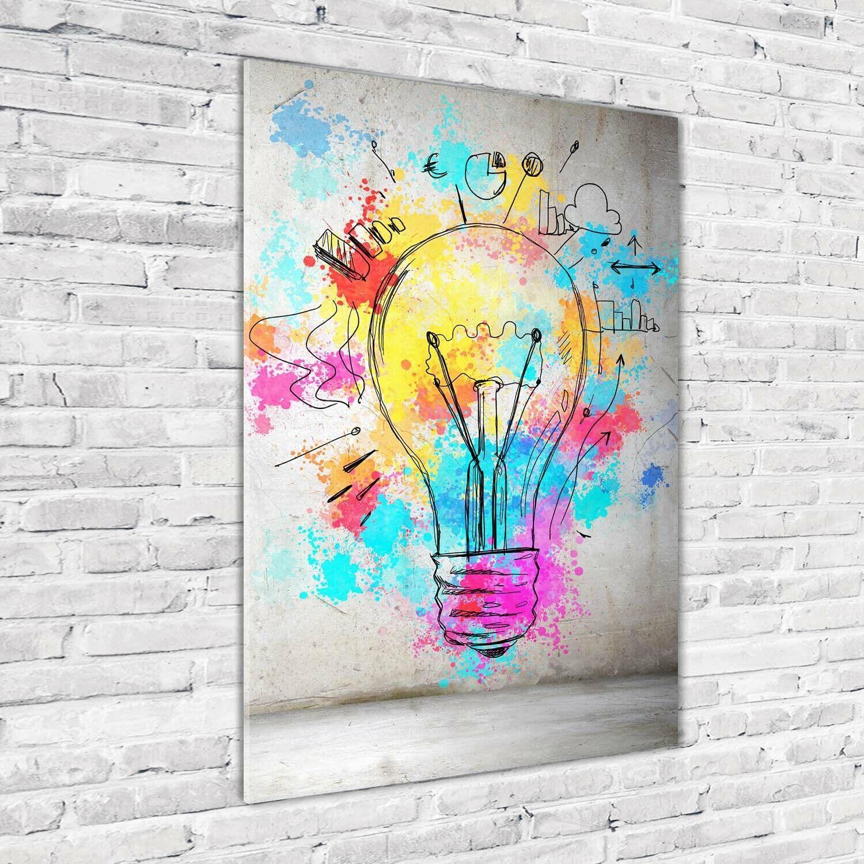 Wand-Bild Kunstdruck aus Acryl-Glas Hochformat 70x100 Bunte Glühbirne