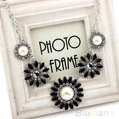 Women Bohemian Style Resin Rhinestone Flower Collar Necklace Jewelry Charm