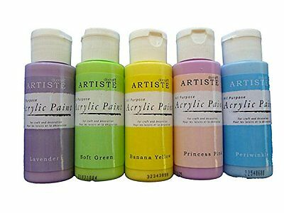 Acrylic Paint Set  Pastel Blue Pink Yellow Lilac Green Pack of 5  59ml each