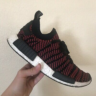 Adidas Originals NMD R1 Stlt Pk Prime knit Ultra Boost Red Black SIZE 9 No Tie | eBay