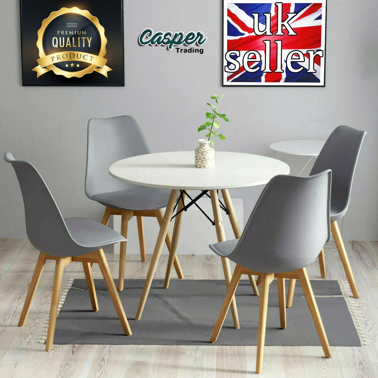11cm White Round Dining Table And 11 Padded Tulip Chairs Grey Set Kitchen  Cafe UK