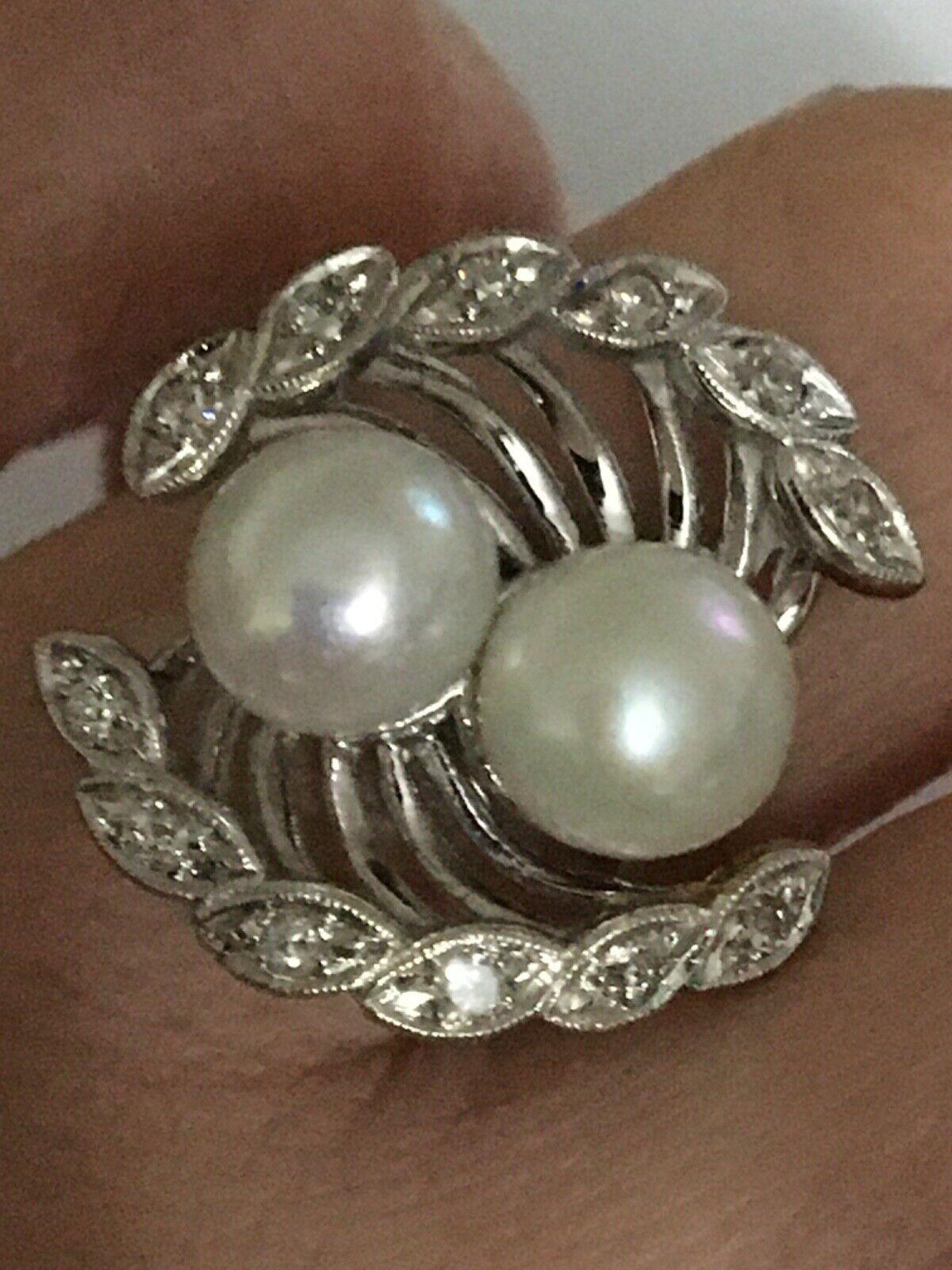 Vintage pearl and diamond Ring, Pearl and Diamond… - image 3