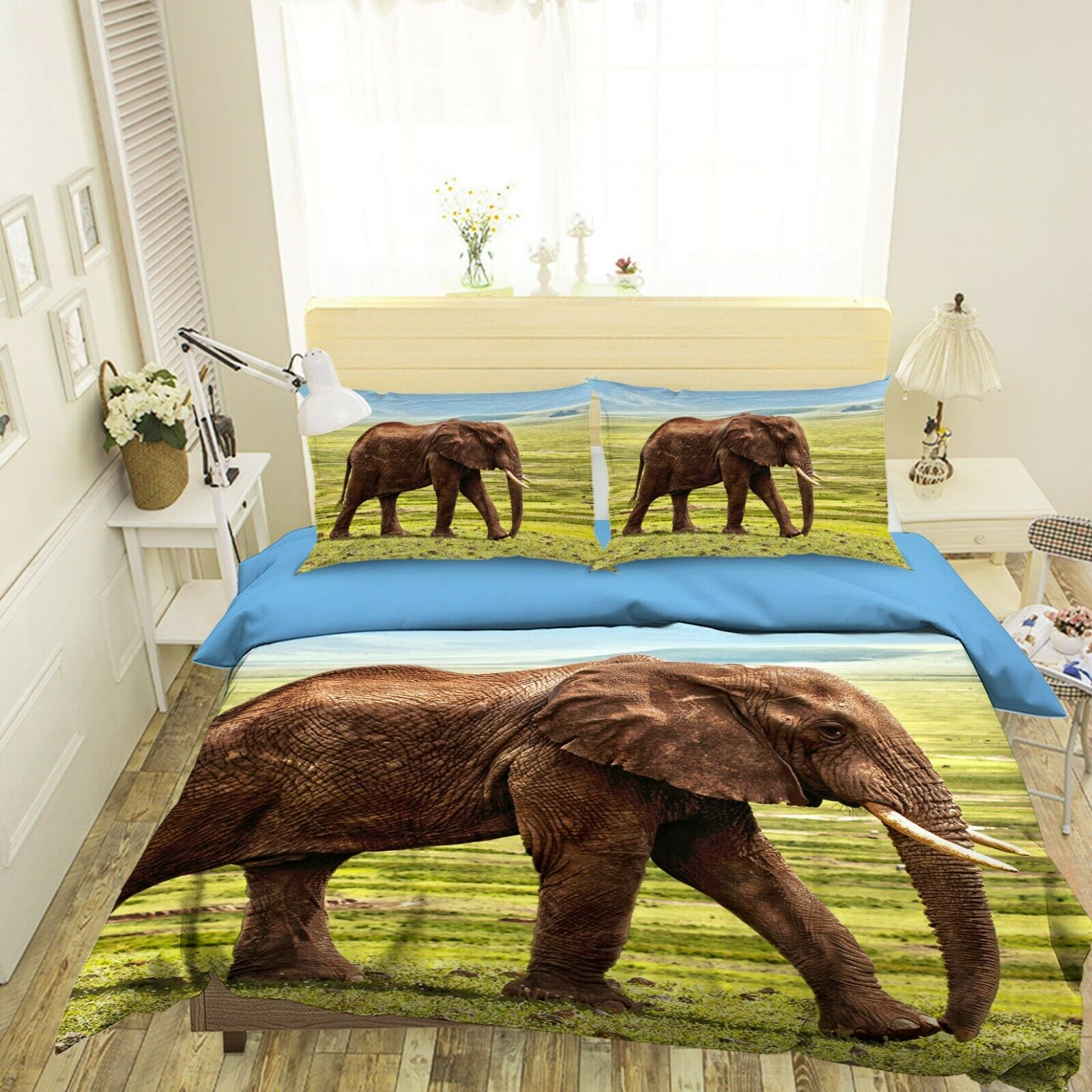 3D Elephant Prairie B32 Animal Bed Pillowcases Quilt Duvet Cover Queen King Wen
