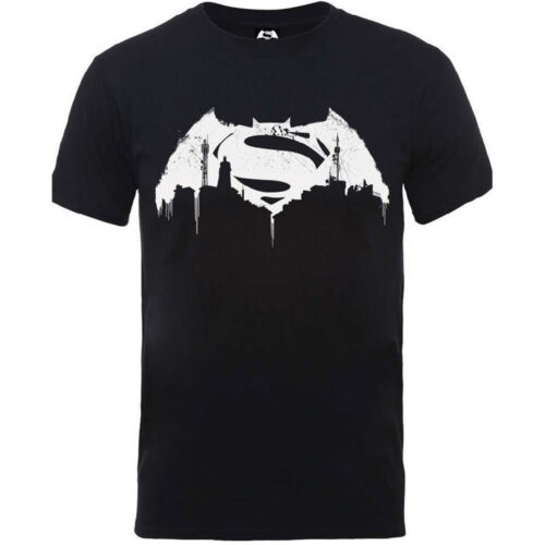 BATMAN V SUPERMAN BEATEN LOGO OFFICIAL DC COMICS UNISEX COTTON T-SHIRT BLACK