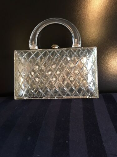 1950's Lucite Clear Purse Rhinestones
