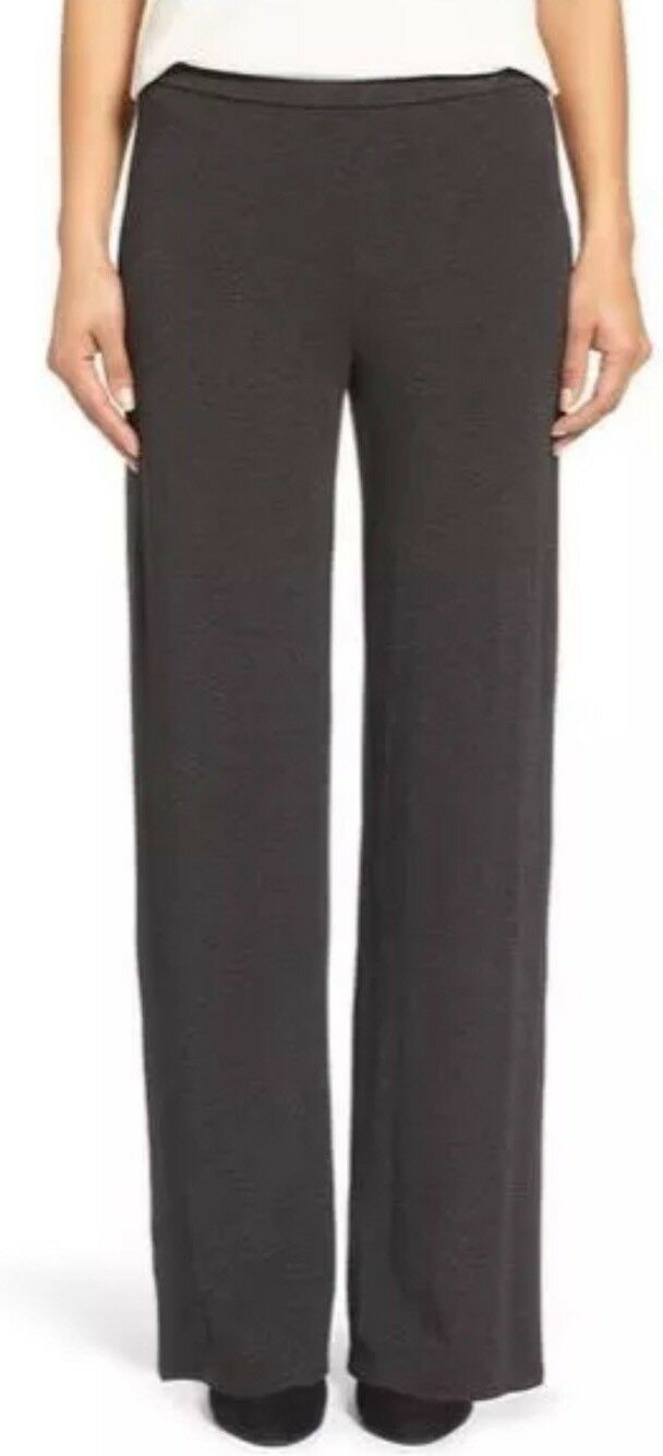 LARGE EILEEN FISHER charcoal cozy viscose stretch Straight Leg pants NWT
