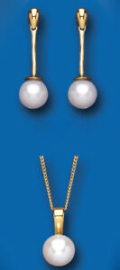 Pearl-Set-Yellow-Gold-Classic-Pendant-and-Drop-Earrings-Hallmarked-British-Made