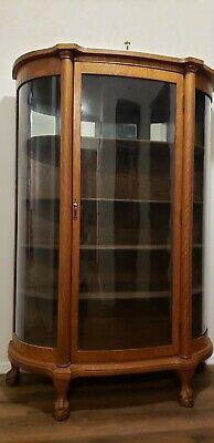 Tiger Oak Antique Curio Cabinet With