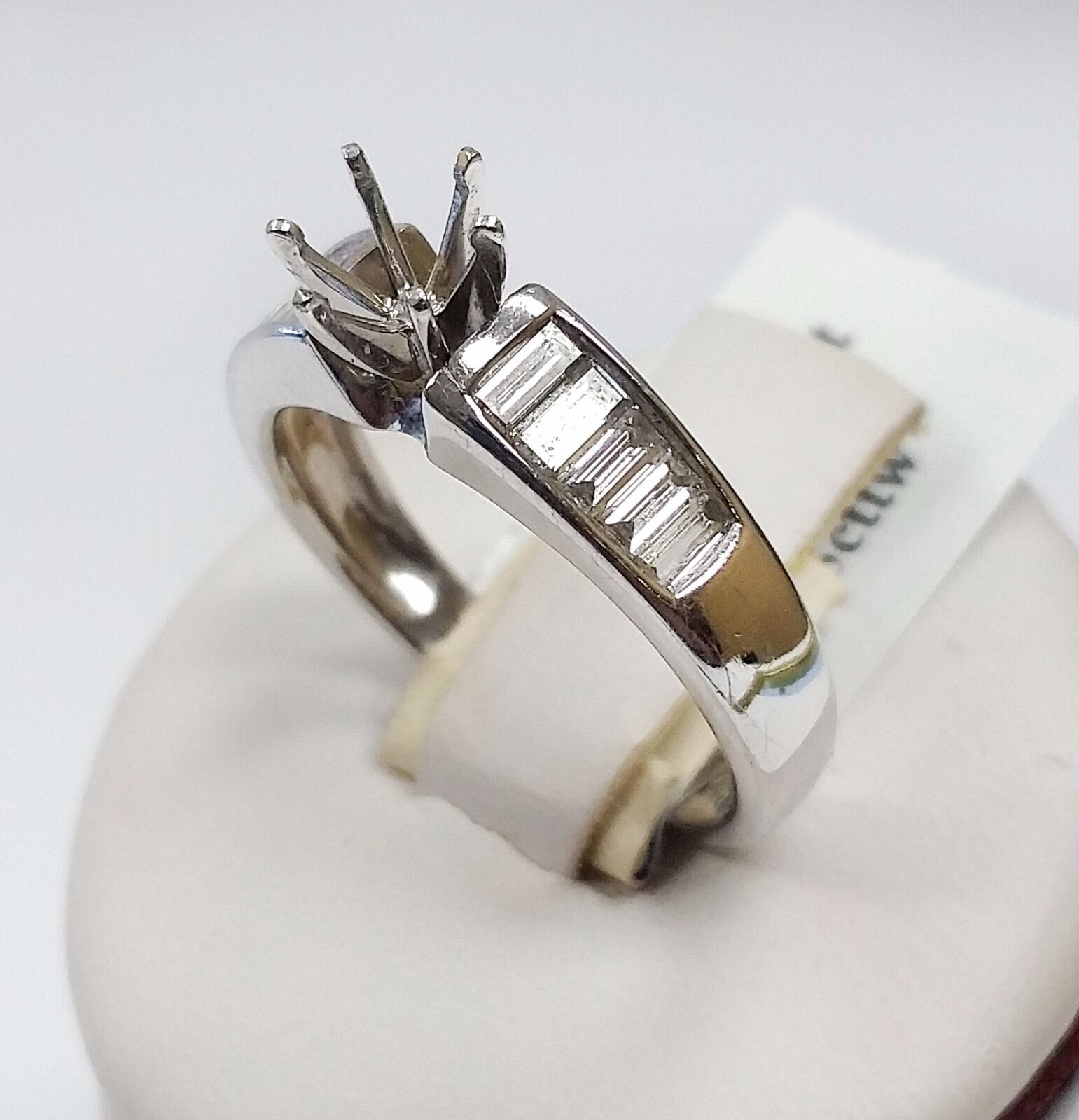 14k White gold Engagement Ring Setting with Diamonds 0.75cttw
