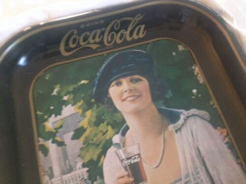 5 VINTAGE1973 COCA COLA TIN TRAYS 20'S WOMAN WITH HER COCACOLA,REG. U.S.PAT.OFF