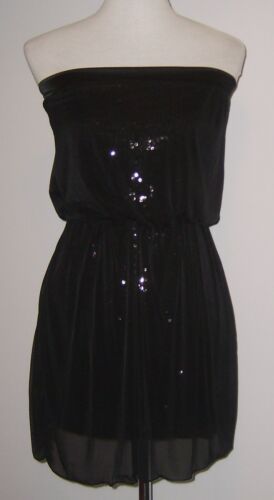 VICKY MARTIN black strapless SEQUIN bodycon mini party dress 1 fits 8 10 BNWT