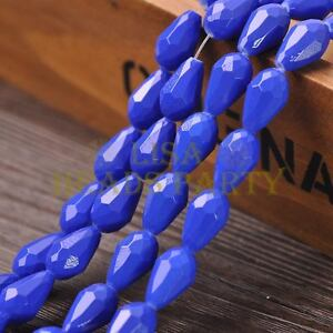 New-Arrival-10pcs-16X10mm-Faceted-Teardrop-Loose-Spacer-Glass-Beads-Royal-Blue