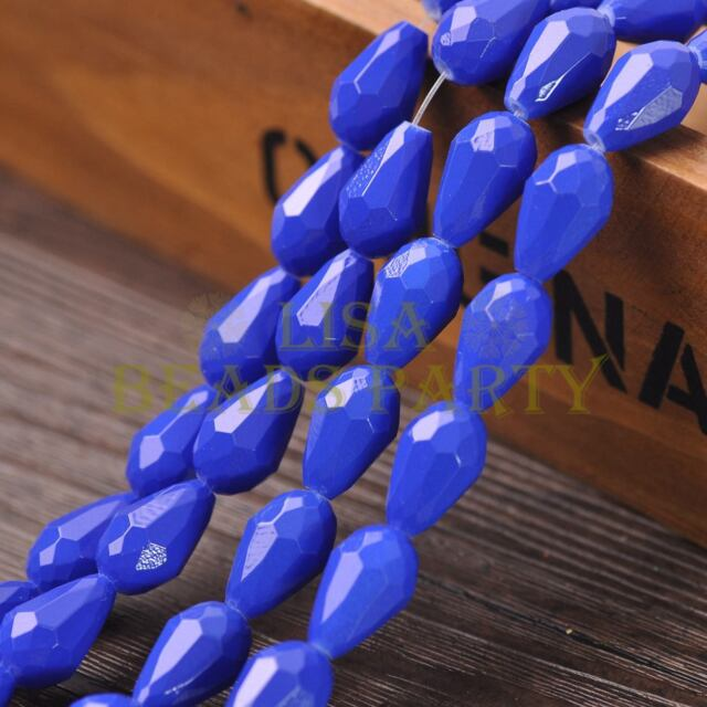 New Arrival 10pcs 16X10mm Faceted Teardrop Loose Spacer Glass Beads Royal Blue
