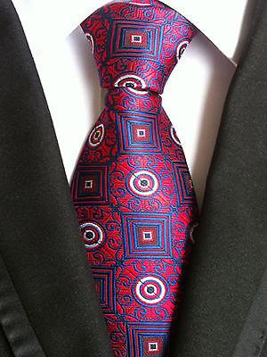(nt121) Cravatta Uomo Formale Rosso Blu Floreale Festa Di Matrimonio Business Ufficio Uomini Cravatta-