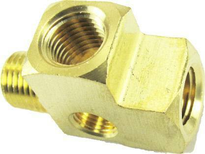 """3//8/"""" NPT Brass Street Tee with 1//8/"""" NPT Drilled /& Tapped Hole For Gauges /& Valve"""