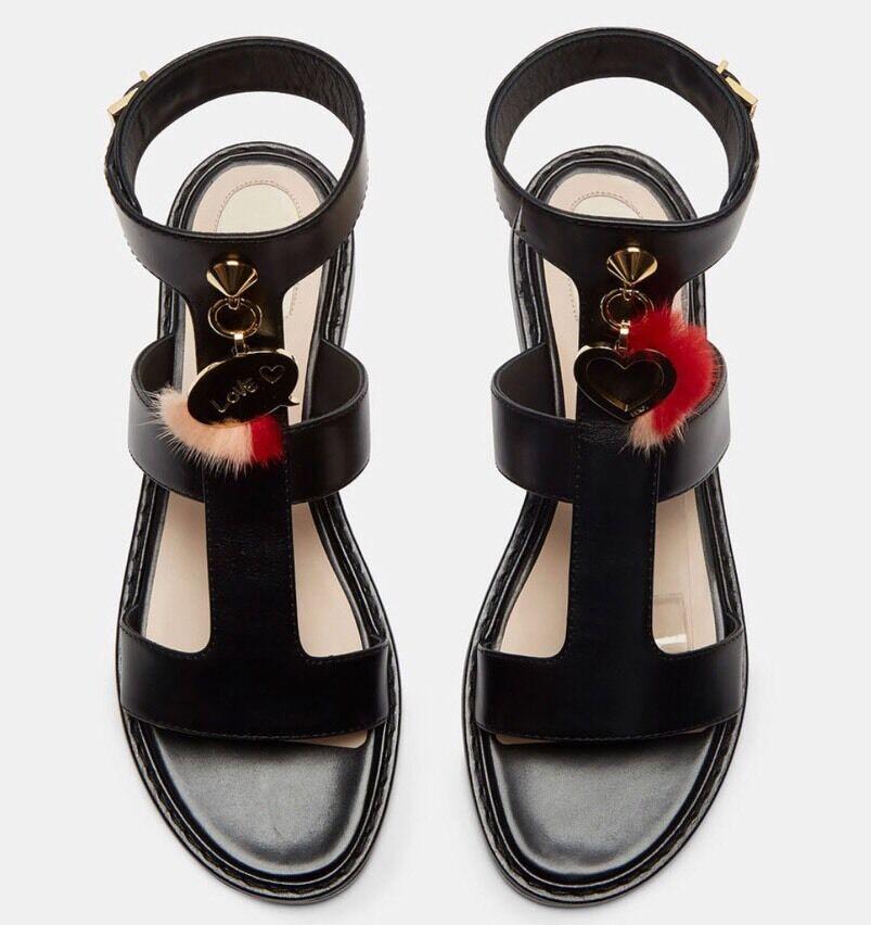 Fendi Sandalias de piel del encanto encanto encanto del corazón 38 EE. UU. 8 Auténtico Mini Negro Cuero Gladiador  barato y de moda