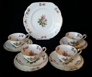 Royal-Chelsea-Moss-Rose-TEA-TRIO-4-sets-Bone-China-with-Cake-Plate-lot-of-13