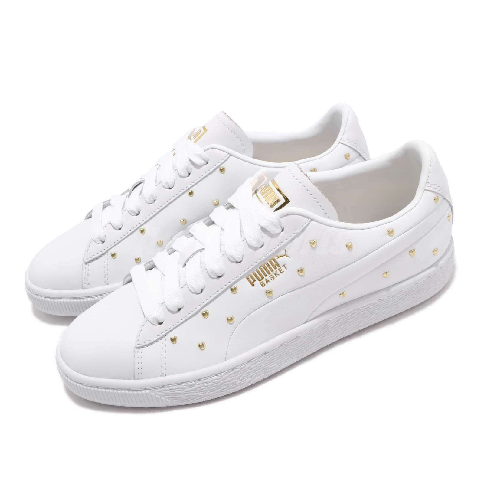 Puma Basket Studs Wns White gold Women Casual Lifestyle shoes Sneakers 369298-01